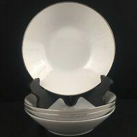 Set of 4 VTG Soup Bowls by Noritake Reina White Floral Platinum Trim 6450Q Japan