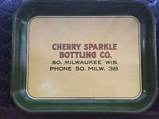 VINTAGE COMMERCIAL METAL TRAY FOR CHERRY SPARKLE BOTTLING COMPANY