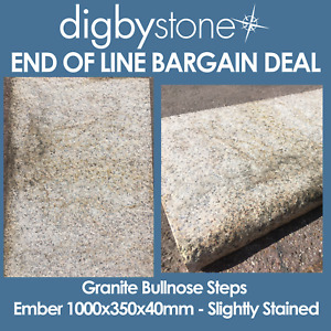 End of Line - Granite Bullnose Steps - Ember 1000x350x40mm - Slightly Stained