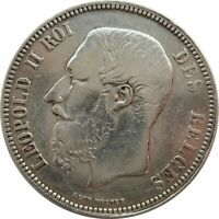 1868 BELGIUM, 5 FRANCS SILVER COIN, KING LEOPOLD II, 90/100 SILVER !