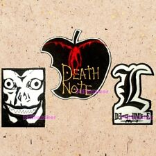 Lot of 3 Death Note Patches Anime Ryuk Face Apple L Lawliet Logo Embroidered