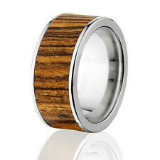 Exotic Hard Wood Wedding Band: Bocote Inlay in Titanium Ring, Wood rings