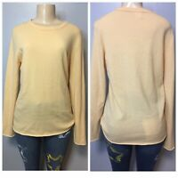 J Crew L Long Sleeve Everyday Cashmere Sweater Crew Neck Yellow RN77388