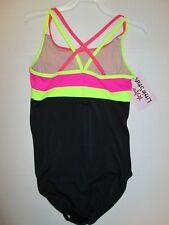NEW Size CL Large Child Dance Gymnastics Jazz Leotard Hot Pink Neon Black Balera