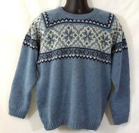 Fjord Fashion Men's Ski Sweater Size 52 Blue Norway Nordic Wool Long Sleeves