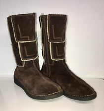 Eastland Womens 10M Brown Patchwork Suede Boots. Leather. Sherpa Lining.