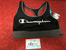 Champion Women's The Absolute Workout Double Dry Sports Bra Black Gray Small