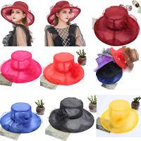 Lady Church Kentucky Derby Hat Sheer Wide Brim Dress Wedding Tea Party Cap Women