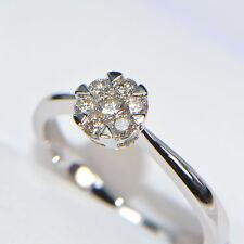 Diamantring 0,28 ct 750er Weissgold Verlobungsring Brillant Illusion Pavé Karat