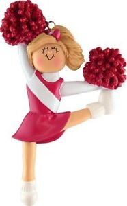 Cheerleader Red Uniform Blonde Personalized Christmas Ornament Gift