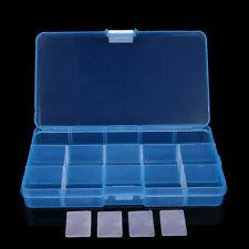 Plastic 15 Slots Adjustable Jewelry Storage Box Case Craft Organizer Bead C
