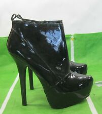 "new Black 6""High Stiletto Heel 2""Platform pointy Toe Sexy Ankle Boots Size  8"