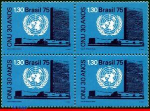 1422 BRAZIL 1975 UN UNITED NATIONS, 30 YEARS, EMBLEM, MI# 1518 C-920, BLOCK MNH