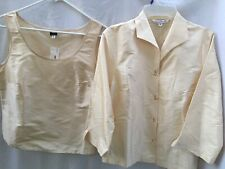 NWT Connie Roberson Silk Ivory Sz S 3/4 Sleeve Jacket with Tank Top