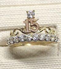 10k Rose & Yellow Gold Crown 15 Birthday Zirconia Quinceanera Ring Band Girl