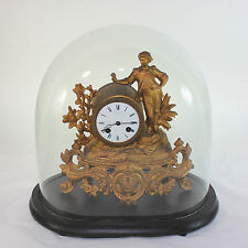 Antique Constantine Detouche gilt metal eight day regulator clock w glass dome