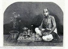Antique print India / portrait praying Brahmin man / Brahman 1869