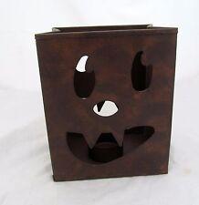 Pumpkin Halloween Jack O Lantern Face Tin Bag Tea Light Candle Holder Metal Sack