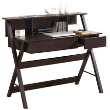 Office Express X-Leg Laptop Computer Home Office Desk with Shelf - Brown