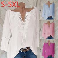 Women Fashion Solid Crochet Shirt Ladies Lace Plus Size Tops Casual T-shirts