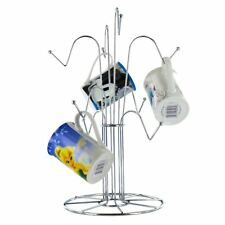 New Chrome Wire 8 Cup Tree Stand Holder Hanging Mug Kitchen Drainer Storage Rack