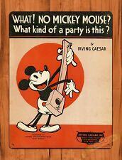 TIN SIGN Walt Disney Mickey Party Irving Caesar Cartoon Movie Art Poster