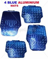 4 Piece Blue Aluminium Mats Sets Car Floor Checkered Plate Metallic Metal Mats