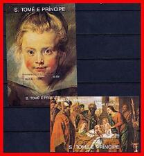 ST.THOMAS 1990 CHRISTMAS PAINTINGS x2 S/S SC#953-56 MNH  RELIGION, RUBENS