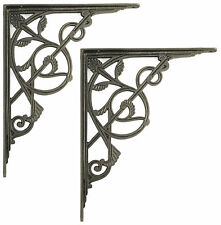 "Pair 30cm / 12"" Very Large Cast Iron Trellis Shelf Brackets antique wall bracket"