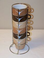 Longhorn Stackable Coffee Mug Cup Set of 6 w/stand - Excellent Condition