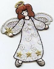 Embroidered Patch - Iron on Applique Standing Christmas Holiday Angel White Robe