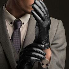 Men's Warm Driving Smartphone Screen Gloves Winter Full Finger PU Leather*