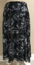 Coldwater Creek Skirt Black S 6-8 Multi-Color Artsy Calf Length Polyester Modest