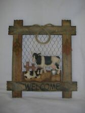 WOODEN COUNTRY COW WELCOME WALL PLAQUE SIGN