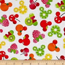 Disney Mickey & Minnie Fruits Head Icon 100% cotton Fabric by the yard
