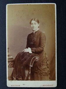 Victorian CDV Carte de Visite photograph of Lady (2) by Whitham Studio Rochdale