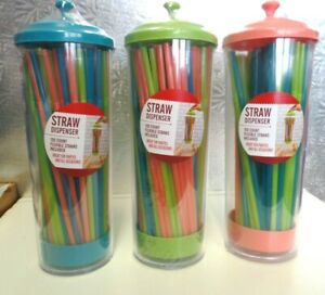 STRAW DISPENSER--100 COUNT FLEXIBLE STRAWS INCLUDED--SEALED CONTAINER