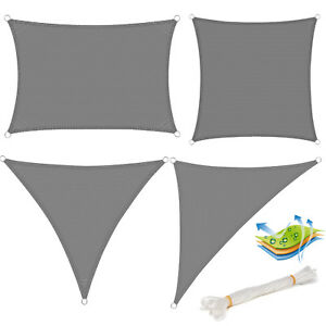 Top Sonnensegel Sonnen UV Schutz Rechteck Quadrat Dreieck Atmungsaktiv HDPE Grau