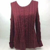 Hippie Rose Junior's Cold Shoulder Knit Sweater  Burnt Auburn Size Medium