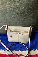 Calvin Klein Bone Pebble Grain Leather Zip Shoulder Bag Handbag Crossbody