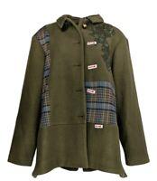 LOGO by Lori Goldstein Women's Sz XL Coat w/ Plaid Panels & Mesh Green A370297