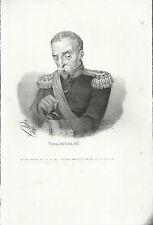 STAMPA ORIGINALE incisione GENERALE MONTEVECCHIO Giuseppe Pin / IUNK TORINO 1861