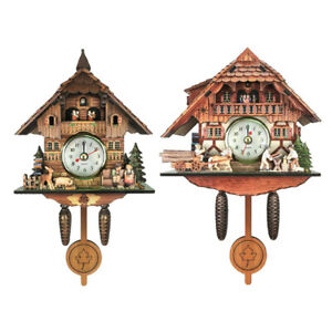 2x Vintage Style Wooden Frame Cuckoo Clock Wall Clock Kids Room Decor Wooden
