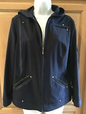Ladies Chico's Navy Synergy hooded Jacket. s0. Front pockets, Has silver trim