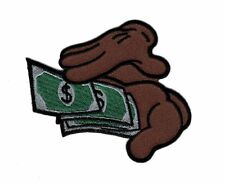 MONEY COUNTING HANDS EMBROIDERED IRON ON FUNNY PATCH (BRWN)