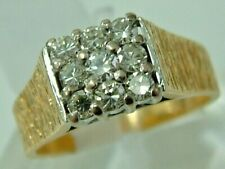 HEAVY 18CT YELLOW WHITE GOLD 1970S DIAMONDS SQUARE CLUSTER RING - 0.50 CTS