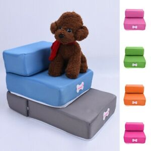 Pet Stairs For Bed Dog Cat Training Steps Tall Bed Safe Foam Ramp Washable Cover
