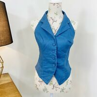 Vintage 90s Monsoon Womens Halter Top Blue Linen Button Front Shirt Size 12