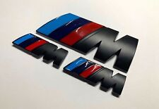 BMW Black M Sport M Power Badge Set (2 x Small Wings & 1 x Trunk Badge) Emblem