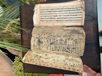 16th c Rare Ancient Old Hand Written Hindu Religious Puran Manuscript Book